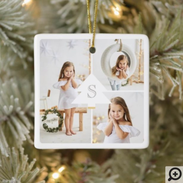 Modern Christmas Tree Monogram Three Photo Collage Ceramic Ornament