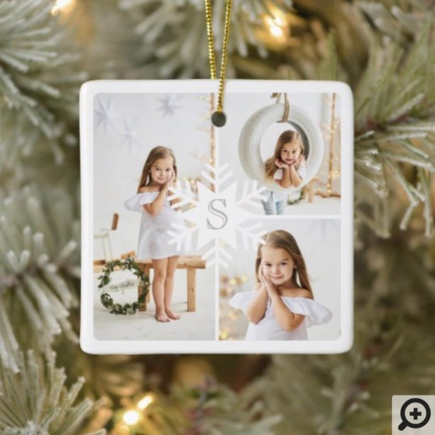 Modern Snowflake Monogram Three Photo Collage Ceramic Ornament1