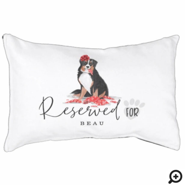 Naughty Watercolor Burnese Dog Reserved For Pet Bed