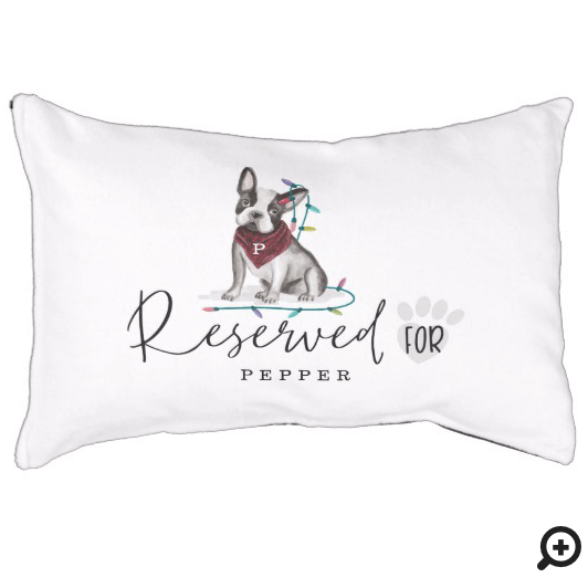 Naughty Watercolor French Bulldog Reserved For Pet Bed