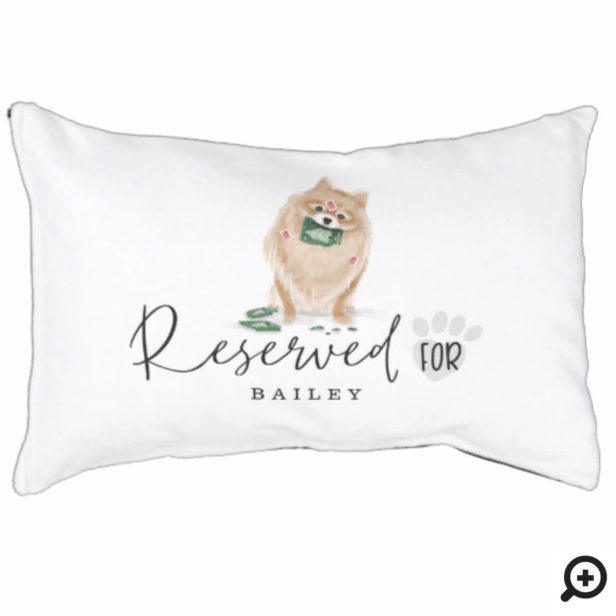 Naughty Watercolor Pomeranian Dog Reserved For Pet Bed