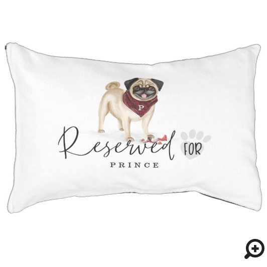 Naughty Watercolor Pug Dog Reserved For Pet Bed