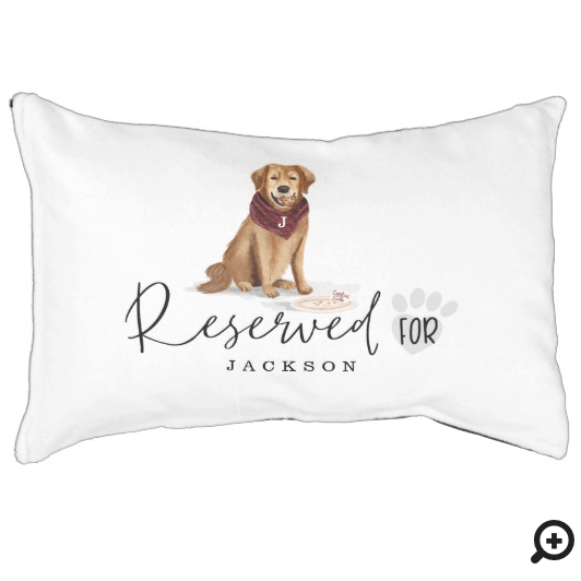 Naughty Watercolor Retriever Dog Reserved For Pet Bed