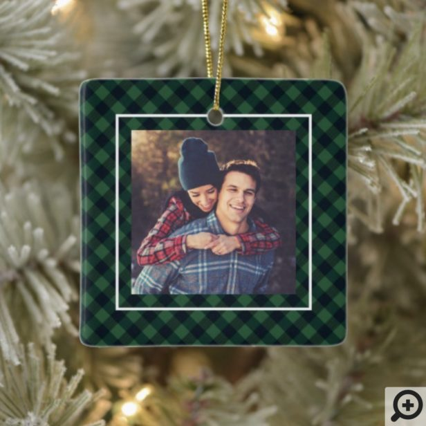 Stay Cozy Trendy Green Buffalo Plaid Family Photo Ceramic Ornament