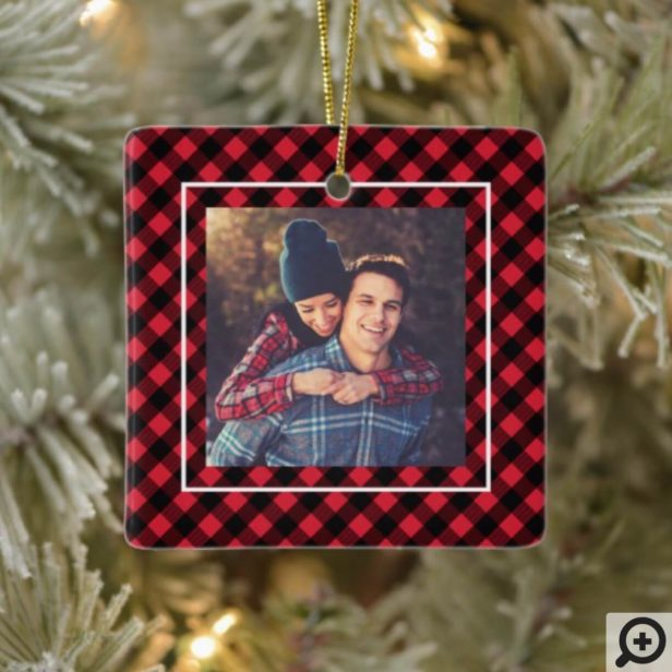Stay Cozy Trendy Red Buffalo Plaid Family Photo Ceramic Ornament