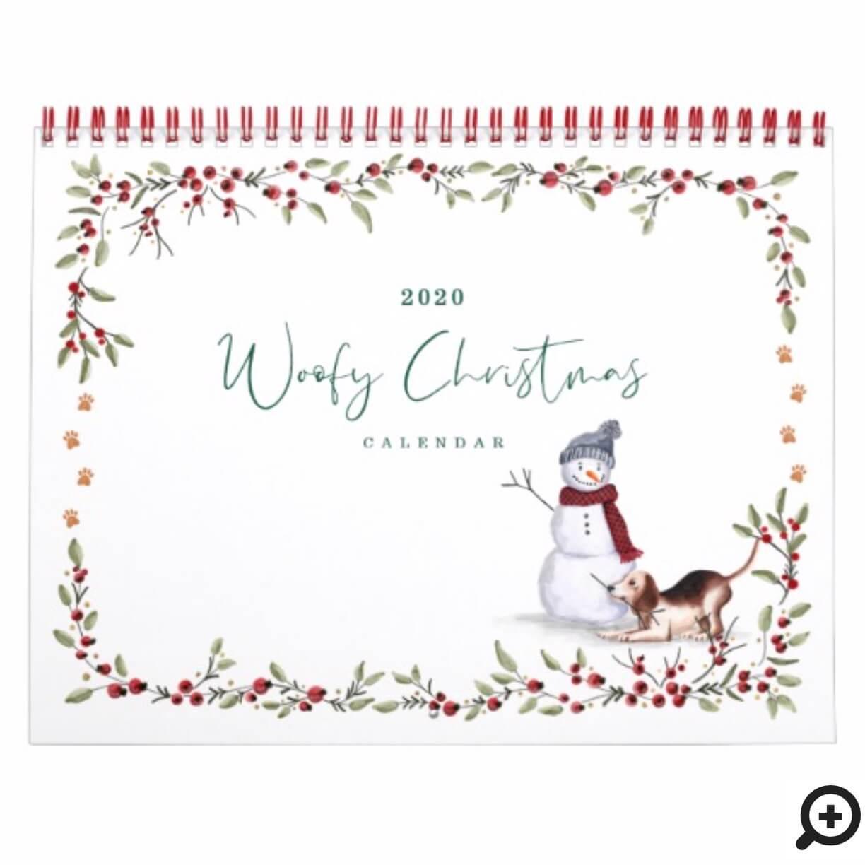 Woofy Christmas Cute Watercolor Naughty Dogs Calendar