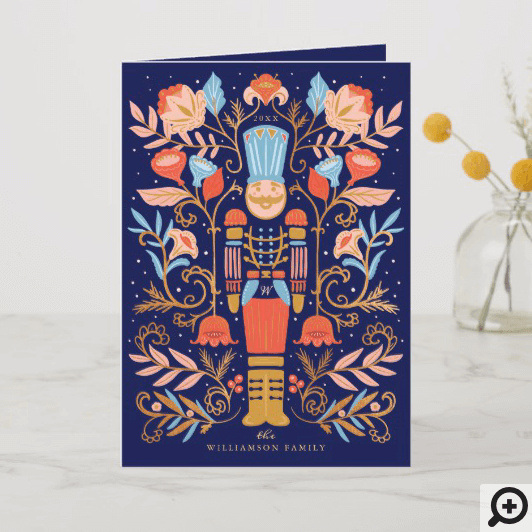 Christmas Nutcracker Floral Folk Art Deep Blue Holiday Card