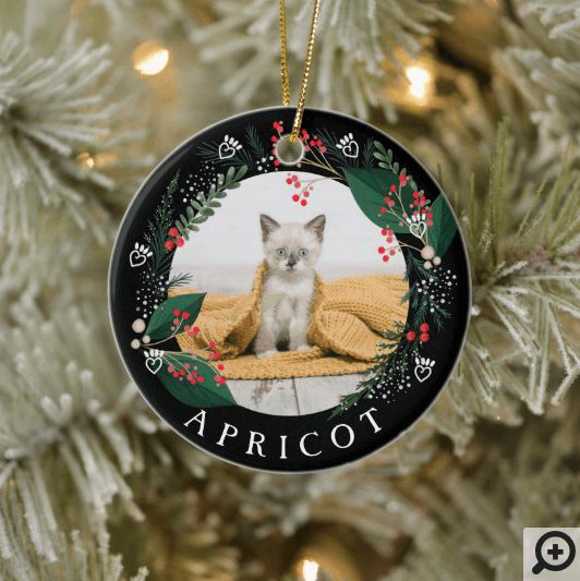 Festive Holiday Greenery Pet Photo Paw Print Ceramic Ornament