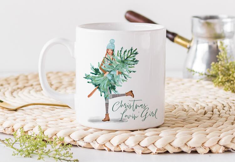 Christmas 'Lovin Girl Holiday Mug By Moodthology Papery