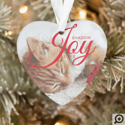 Holiday Joy Modern & Minimal Multiple Pet Photo Ornament