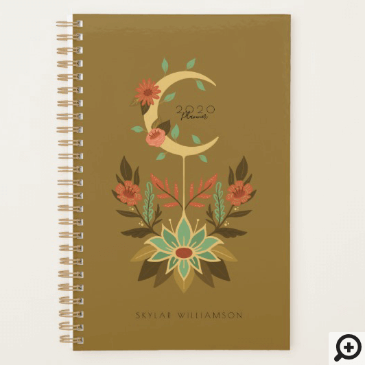 Holistic Spiritual Crescent Moon & Lotus Floral Planner