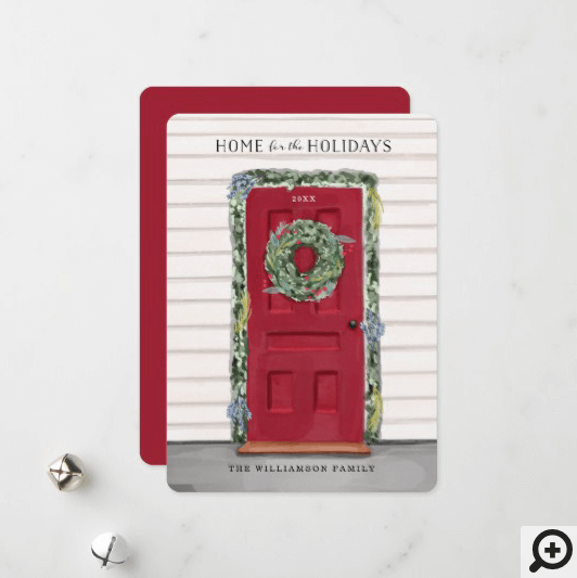 Home For The Holidays Red Watercolor Front Door Holiday Card