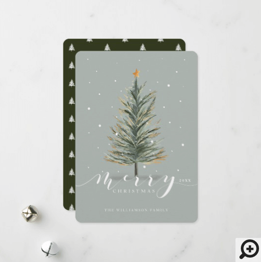 Merry Christmas Watercolor Forest Evergreen Tree Holiday Card