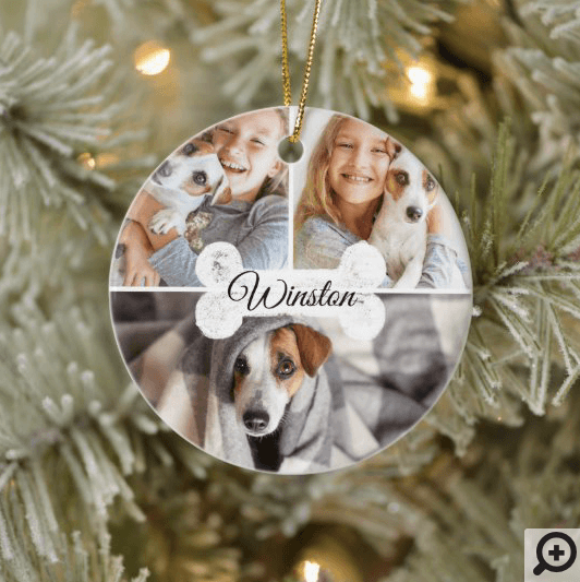 Modern Christmas Pet Dog Bone Three Photo Collage Ceramic Ornament