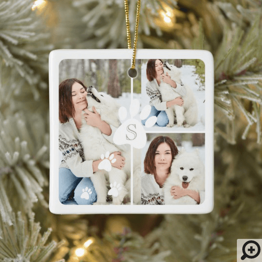 Modern Christmas Pet Monogram Four Photo Collage Ceramic Ornament