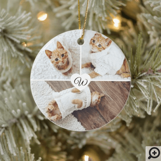 Modern Christmas Pet Monogram Three Photo Collage Ceramic Ornament