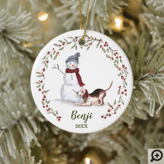 Naughty Watercolor Beagle Dog Photo Memory Ceramic Ornament