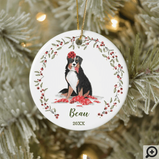 Naughty Watercolor Burnese Dog Photo Memory Ceramic Ornament