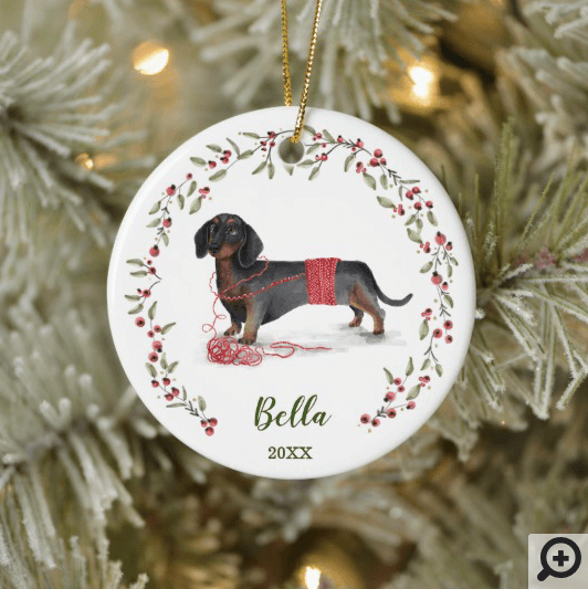 Naughty Watercolor Dachshund Dog Photo Memory Ceramic Ornament