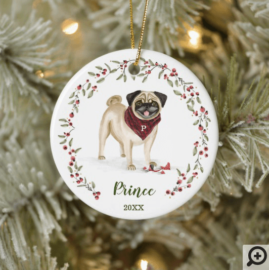 Naughty Watercolor Pug Dog Photo Memory Ceramic Ornament