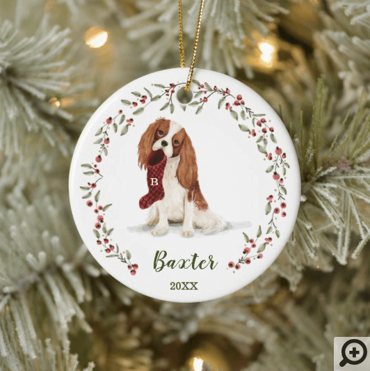 Naughty Watercolor Spaniel Dog Photo Memory Ceramic Ornament