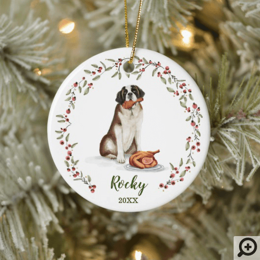 Naughty Watercolor St Bernard Dog Photo Memory Ceramic Ornament