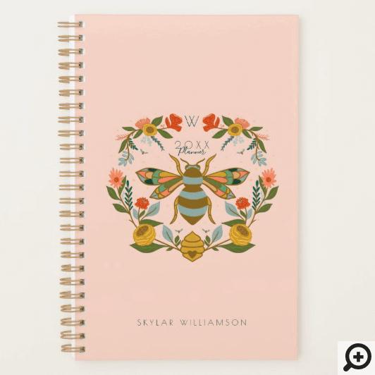 Vintage Honey Bee & Wildflower Wreath Illustration Planner