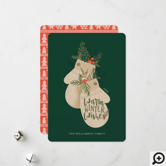 Warm Winter Wishes Festive Christmas Mittens Holiday Card
