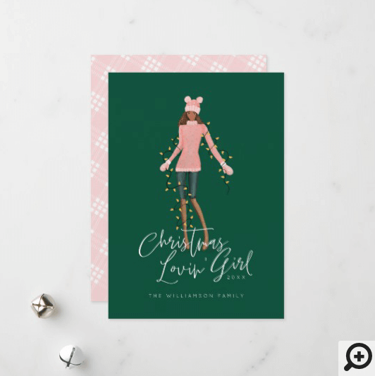 Watercolor Christmas Lovin' Girl Wrapped In Lights Holiday Card