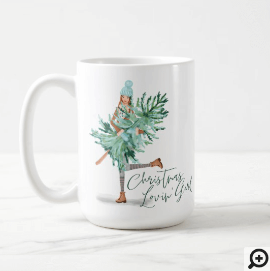 Watercolor Girl Holding Evergreen Christmas Tree Coffee Mug