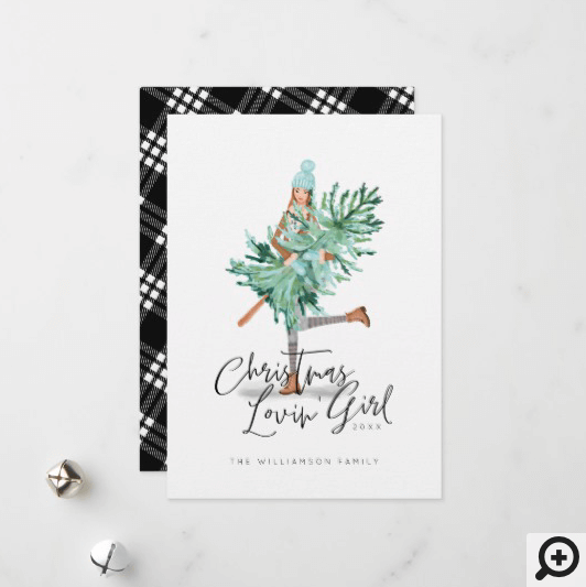 Watercolor Girl Holding Evergreen Christmas Tree Holiday Card