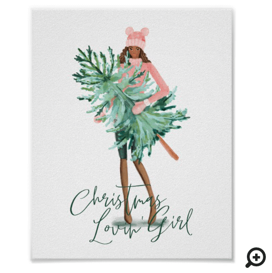 Watercolor Christmas Lovin' Girl Wrapped In Lights