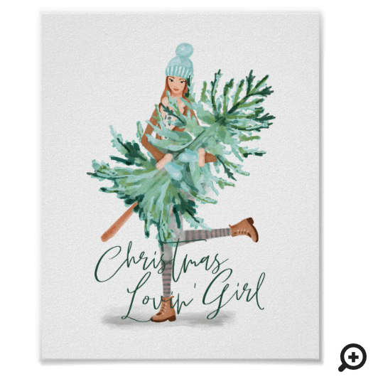 Watercolor Girl Holding Evergreen Christmas Tree Poster