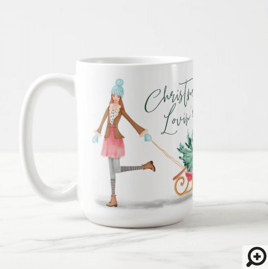 Waterolor Christmas Lovin' Girl Pulling Sleigh Coffee Mug
