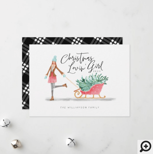 Waterolor Christmas Lovin' Girl Pulling Sleigh Holiday Card White