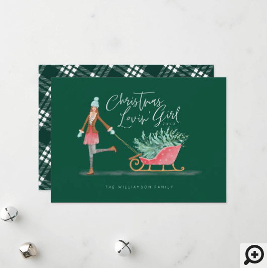 Waterolor Christmas Lovin' Girl Pulling Sleigh Holiday Card