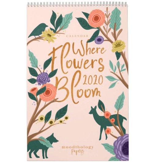 New 2020 calendar design called where flowers bloom, featuring twelve of our own original illustration pieces with each month's illustration depicting a different animal in nature. The animals are subtlety captured in the blooming and blossoming flowers, as they are one with nature. Our calendar theme where flowers bloom is in honour of our beautiful planet we all call home. Animals, nature, the environment and the harmony and beauty that they all possess. All illustrations are hand-drawn original artwork by Moodthology.