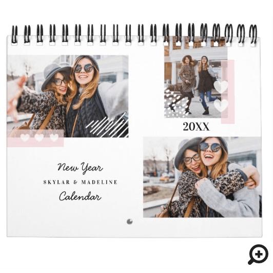 BFF Best Friends Forever Modern Multiple Photo Calendar