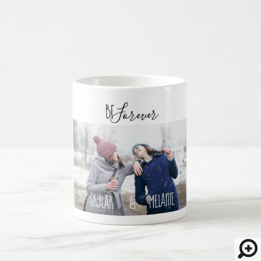 Best Friends Forever Modern Minimal Multiple Photo Coffee Mug