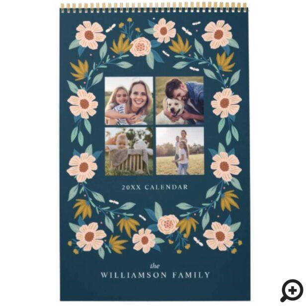Elegant Florals Photo Collage Family Memories Calendar