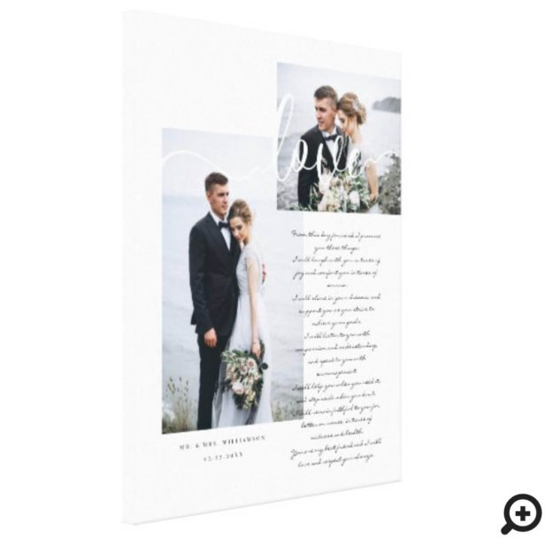 Elegant Wedding Vows Love Script Minimal Two Photo Canvas Print