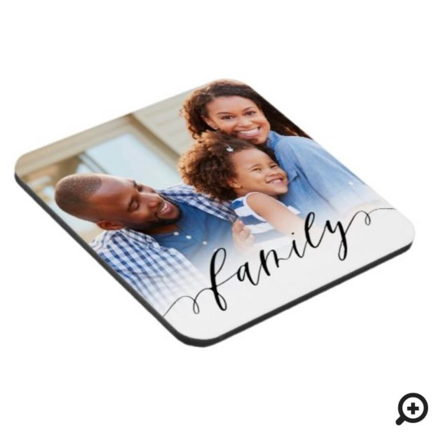 Family Black Script Overlay Modern Minimal Photo Beverage Coaster