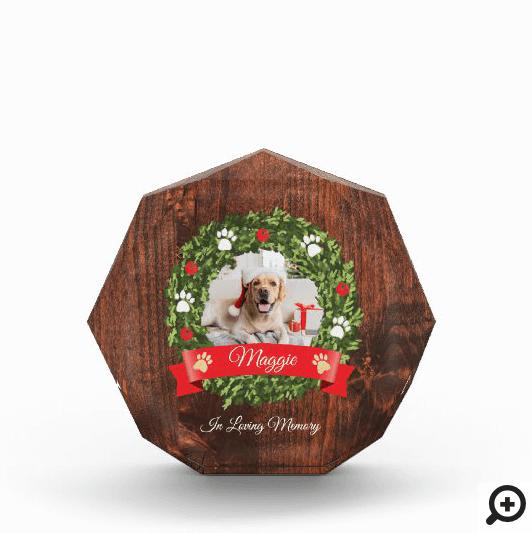 Loving Memory Christmas Wreath Pet Memorial Photo Block