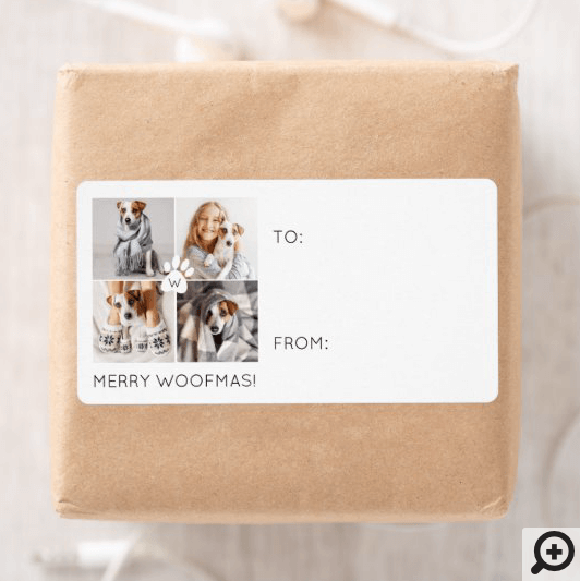 Merry Woofmas Minimal 4 Photo Layout Pet To & From Label