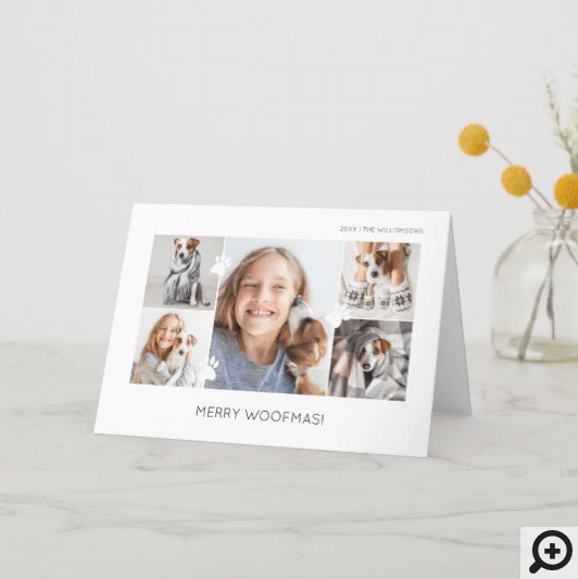 Merry Woofmas Minimal 5 Photo Layout Pet Holiday Card