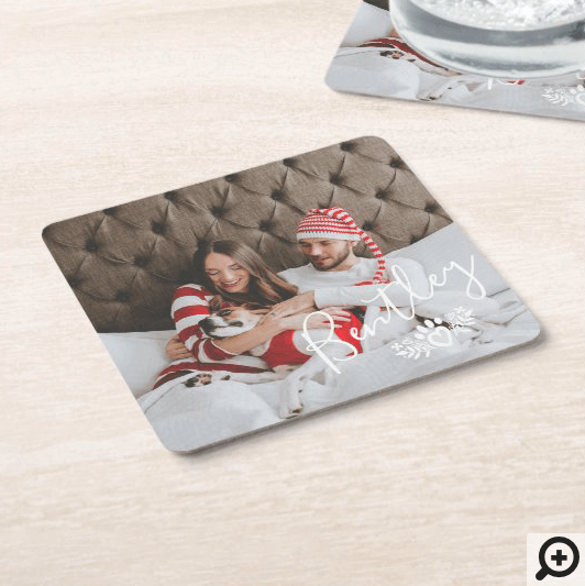 Minimal and modern full photo layout. Customized with your own special photo memory and pets name. A beautiful floral and pet paw print is added to the corner of the coaster.