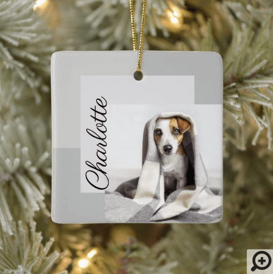 Moden Minimal Geometric Dog Photo Ornament