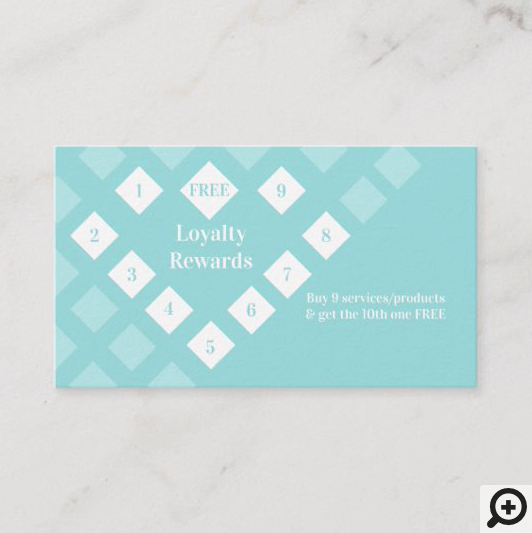 Modern Diamond Heart Loyalty Rewards Aqua Blue Business Card