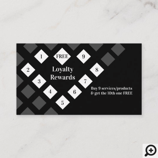 Modern Diamond Heart Loyalty Rewards Black Business Card