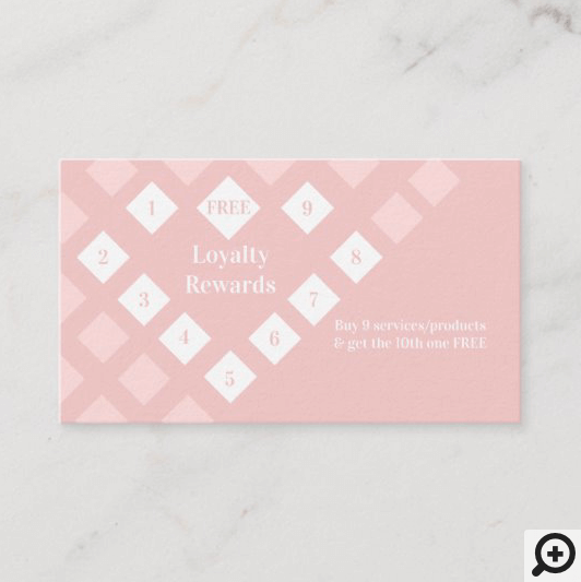Modern Diamond Heart Loyalty Rewards Blush Pink Business Card
